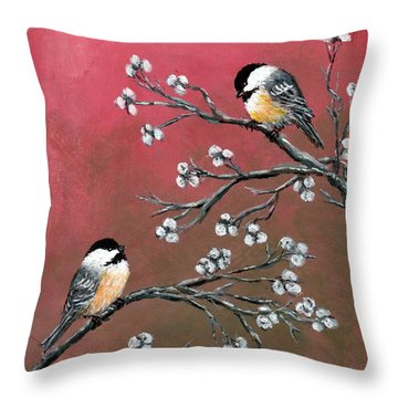 Throw Pillow featuring the painting Pink Chickadees by Kathleen McDermott