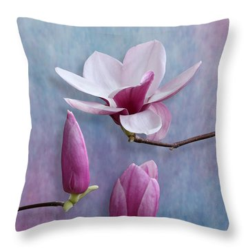 Pink Chinese Magnolia Flower With Two Buds Throw Pillow