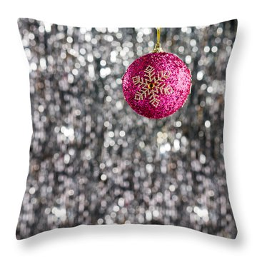 Throw Pillow featuring the photograph Pink Christmas Bauble by Ulrich Schade