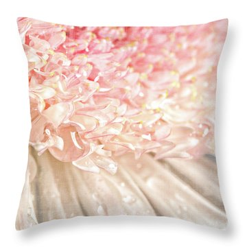 Pink Chrysanthemum With Antique Distress Throw Pillow by Sandra Cunningham