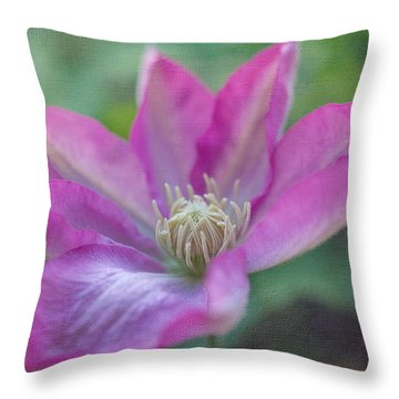 Pink Clematis #2 Throw Pillow by Laurinda Bowling