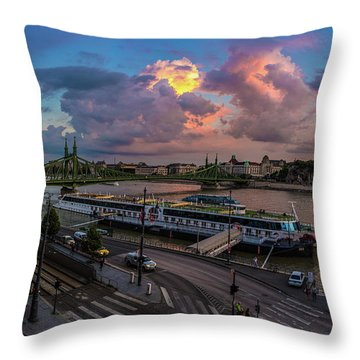 Pink Clouds Above The Danube, Budapest Throw Pillow