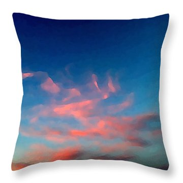 Pink Clouds Abstract Throw Pillow