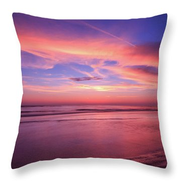 Pink Sky And Ocean Throw Pillow
