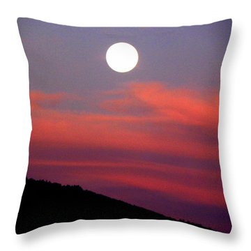 Pink Clouds With Moon Throw Pillow