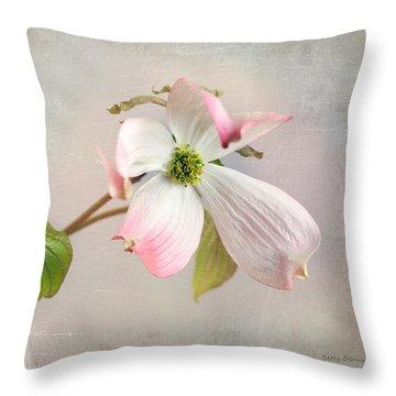 Pink Cornus Kousa Dogwood Blossom Throw Pillow