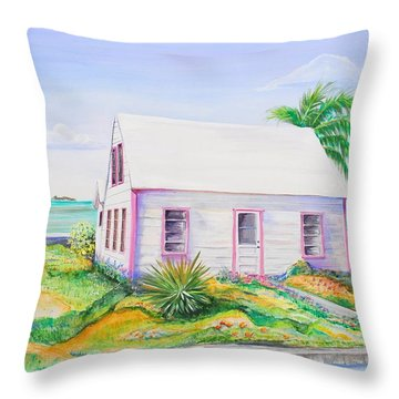 Pink Cottage Throw Pillow by Patricia Piffath