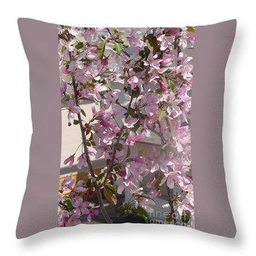 Pink Crabapple Branch Throw Pillow