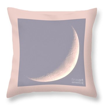 Pink Crescent Moon Throw Pillow