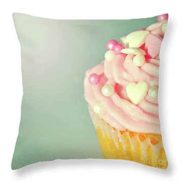 Throw Pillow featuring the photograph Pink Cupcake With Lovehearts by Lyn Randle