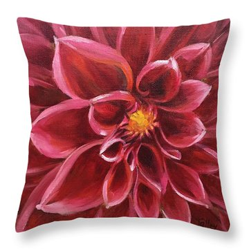 Pink Dahlia Throw Pillow by Pam Talley