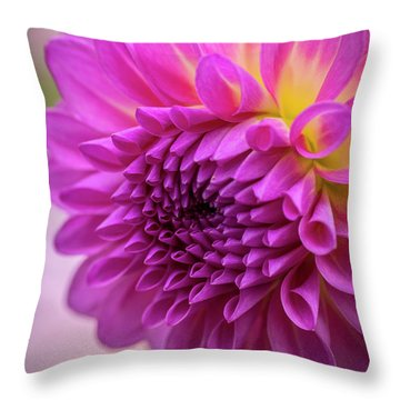 Pink Dahlia Throw Pillow