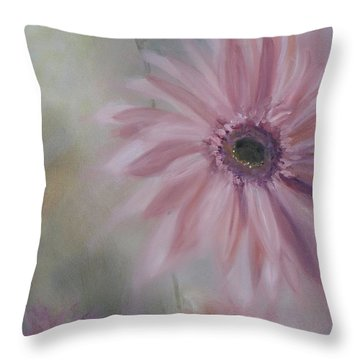 Throw Pillow featuring the painting Pink Daisies by Donna Tuten