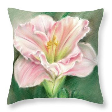 Pink Daylily And Green Buds Throw Pillow