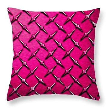 Pink Diamond Plate  Throw Pillow