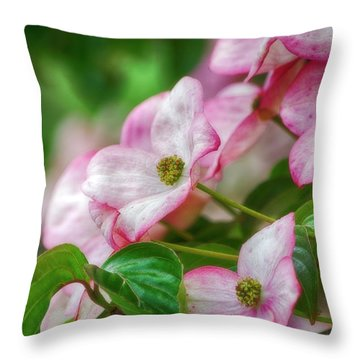 Throw Pillow featuring the photograph Pink Dogwood by Bonnie Bruno