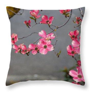 Pink Dogwoods Throw Pillow