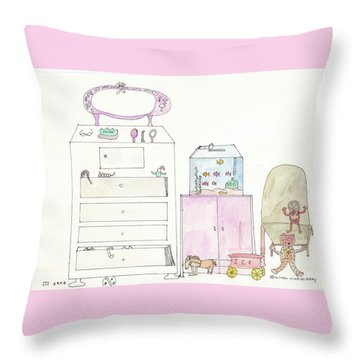 Pink Dolly Bedroom Throw Pillow