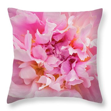 Pink Double Peony Throw Pillow