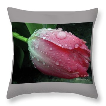 Pink Drops #2 Throw Pillow by Kim Tran