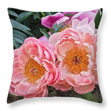 Pink Duo Peony Throw Pillow by Janis Nussbaum Senungetuk