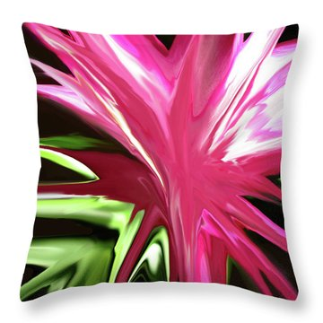 Throw Pillow featuring the digital art Pink Explosion by Mary Bedy
