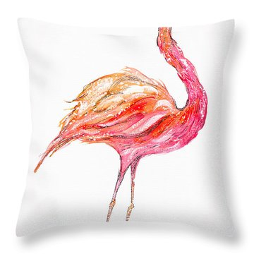 Pink Flamingo Bird Throw Pillow