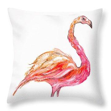 Pink Flamingo Bird Throw Pillow