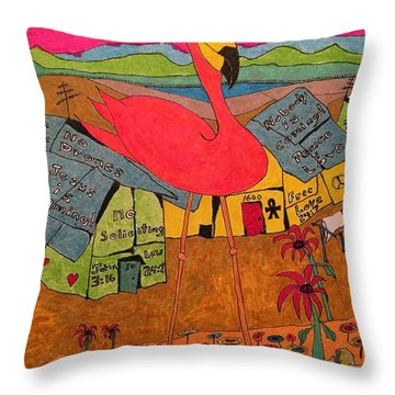 Pink Flamingo Camp Throw Pillow