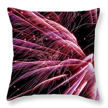 Throw Pillow featuring the photograph Pink Flamingo Fireworks #0710 by Barbara Tristan