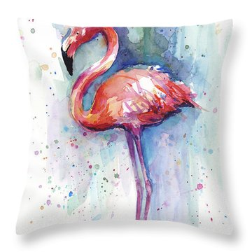 Pink Flamingo Watercolor Throw Pillow