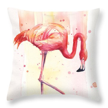 Pink Flamingo Watercolor Rain Throw Pillow