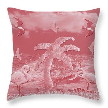 Pink Flamingo's Palms Throw Pillow