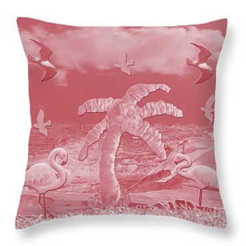 Pink Flamingo's Palms Throw Pillow