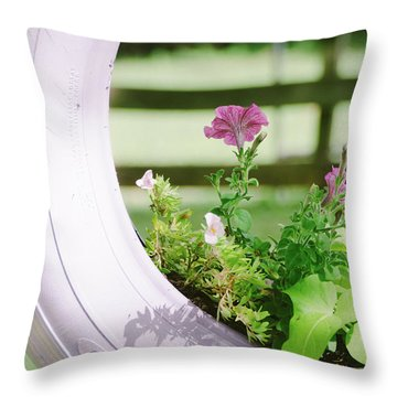 Throw Pillow featuring the photograph Pink Floral 2 by Andrea Anderegg