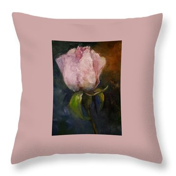 Pink Floral Bud Throw Pillow