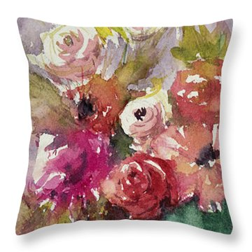 Pink Floral Impressions Throw Pillow