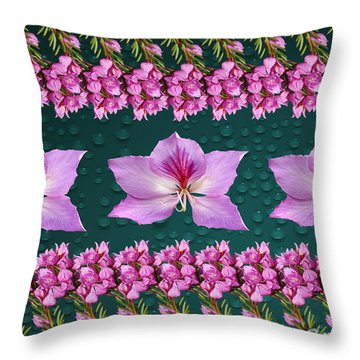 Pink Flower Arrangement Throw Pillow