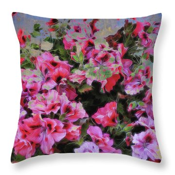 Pink Flower Fantasy Throw Pillow by Ann Powell