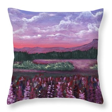 Throw Pillow featuring the painting Pink Flower Field by Anastasiya Malakhova