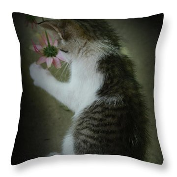 Pink Flower Throw Pillow by Kim Henderson