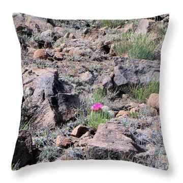 Pink Flower On Cactus Throw Pillow by Debbie Wells