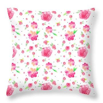 Pink Flower Pattern Throw Pillow