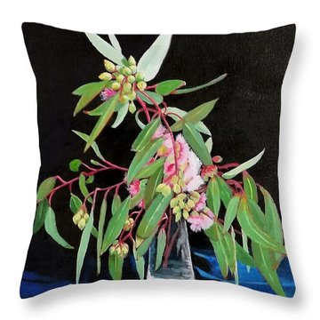 Pink Flowering Gum Throw Pillow