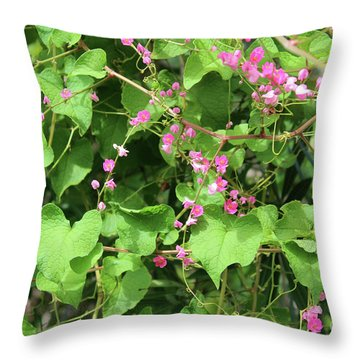 Throw Pillow featuring the photograph Pink Flowering Vine1 by Megan Dirsa-DuBois