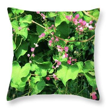 Pink Flowering Vine2 Throw Pillow
