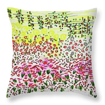 Pink Flowers And Trellis Throw Pillow