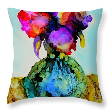 Throw Pillow featuring the painting Pink Flowers In A Vase by Priti Lathia