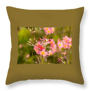 Pink Flowers In Scotland Throw Pillow