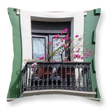 Pink Flowers On Balcony Throw Pillow